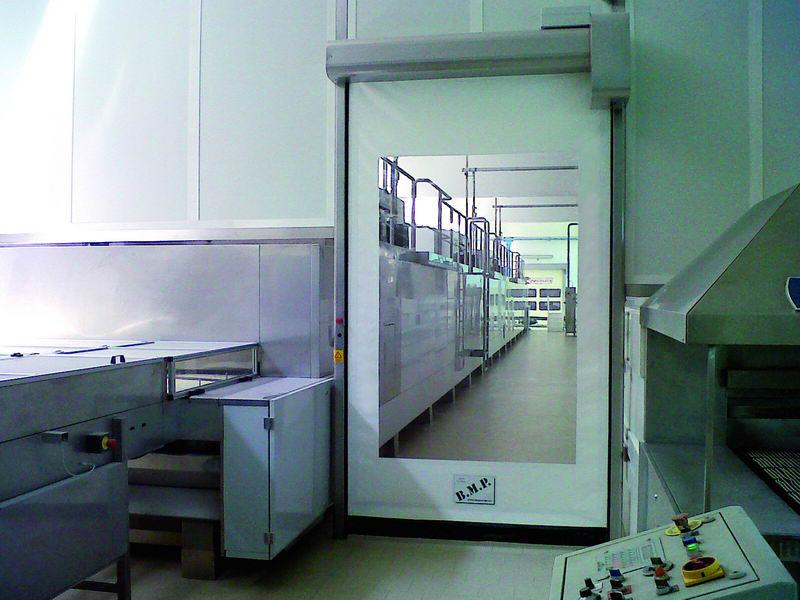self repairing flexible high speed door food inox