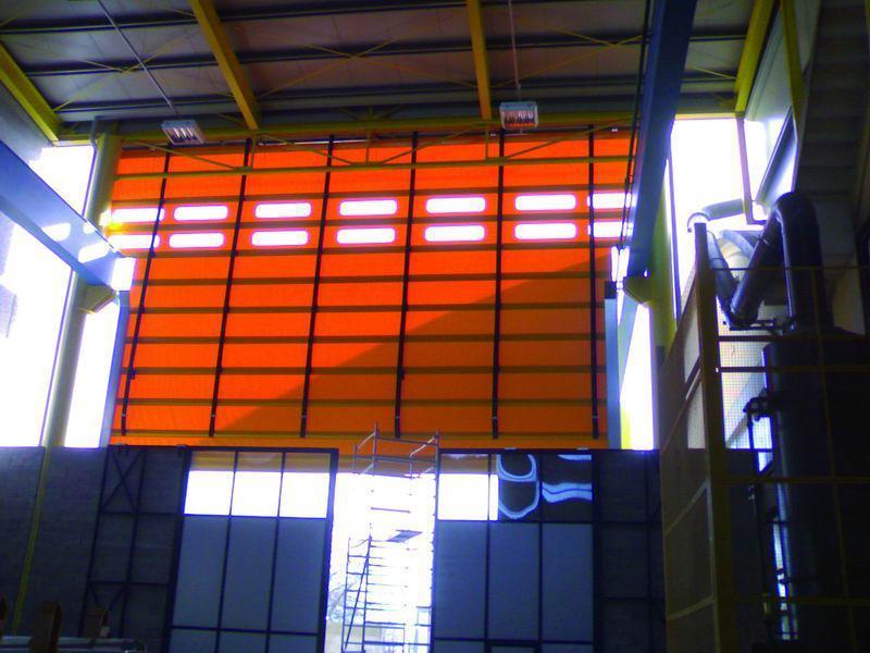 porta industriale ad impacchettamento per carroponte vista interna